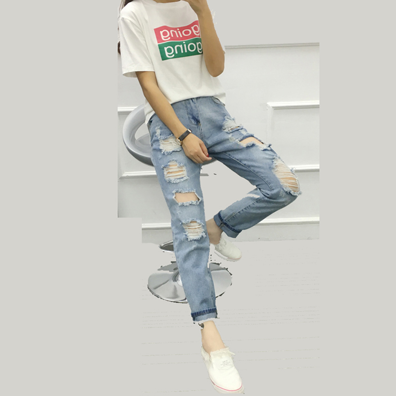 2017 Spring Summer Women's Haren Pants  Ankle-Length Hole Jeans Loose Comfortable Tooties New Style Ladies' Trousers