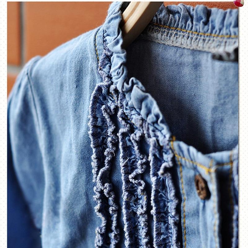 Qız Jean geyimləri, 2016 moda Qızlar üçün Yeni Denim Don, Uzun - Uşaq geyimləri - Fotoqrafiya 3