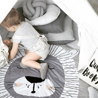 90cm Baby Play Mats Toddler Toys Game Pad Mats Children's Crawling Mats Lion Round Cotton Rug Animal Baby Carpet Room Decoration