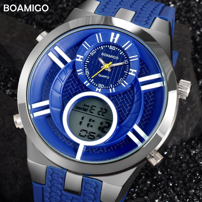 men sport watches fashion quartz watch dual display analog ...
