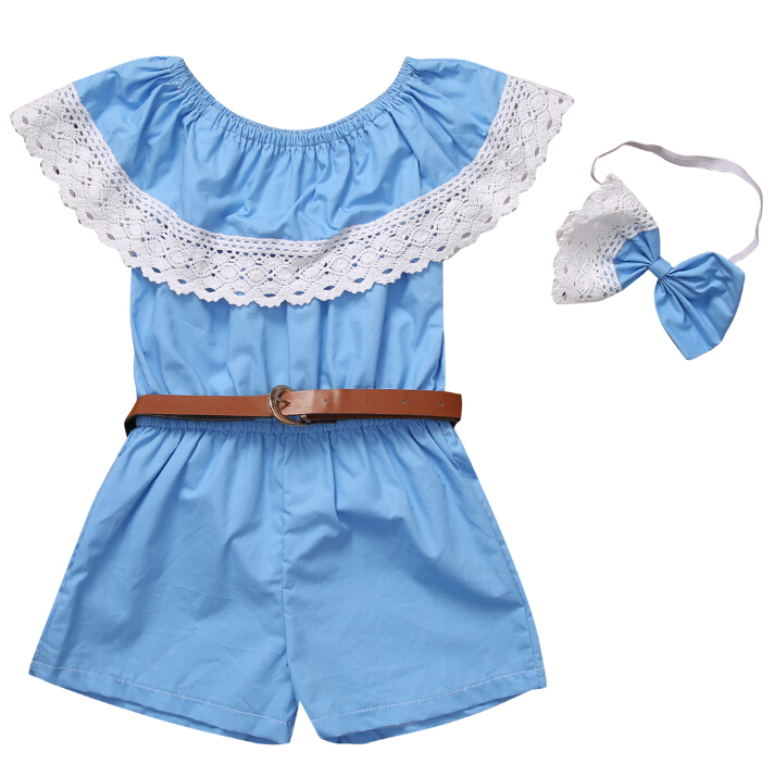 Toddler Baby Kids Girls Clothes Rompers Sleeveless Blue Short Sleeve Belt Headband 3pcs Clothing Summer Girl 2017 cotton toddler kids girls clothes sleeveless floral romper baby girl rompers playsuit one pieces outfit kids tracksuit