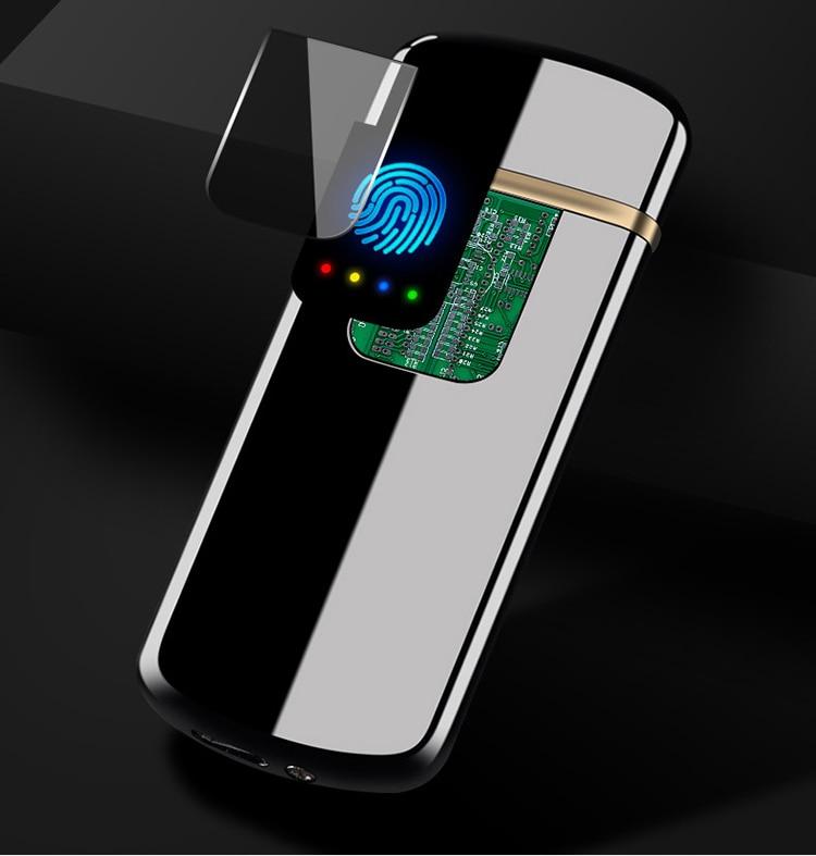 geekoplanet.com - Ultra-thin USB Rechargeable Cigarette Lighter with Fingerprint Touch Sensor