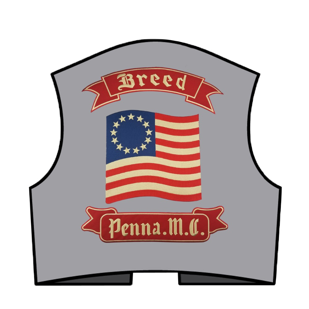 G0627 (6)mc1931 Breed Penna. M.C Embroidered Full Back of Jacket Biker Patch Iron On Sew On Vest Jeans Applique Badge