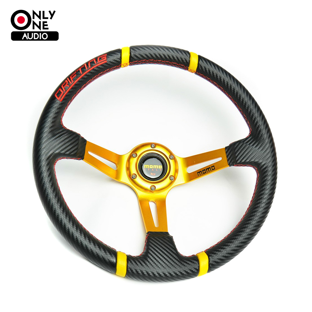 Universal 14 inch(350mm) Drifting Carbon Fiber PVC Cover Racing Sport Steering Wheel with Horn Button and Aluminium Bracket