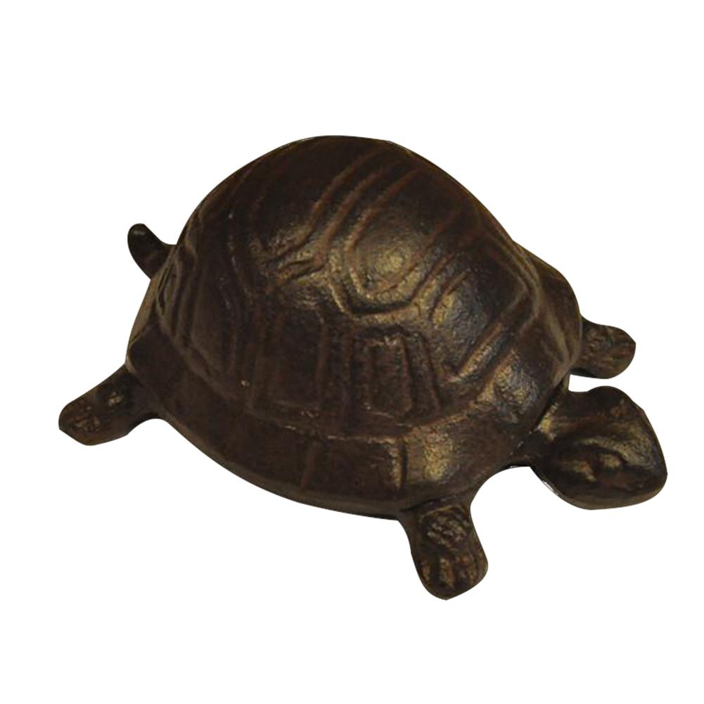 "Tiny Wee Miniature Rustic 2/"" Long Solid Cast Iron Turtle Figure"