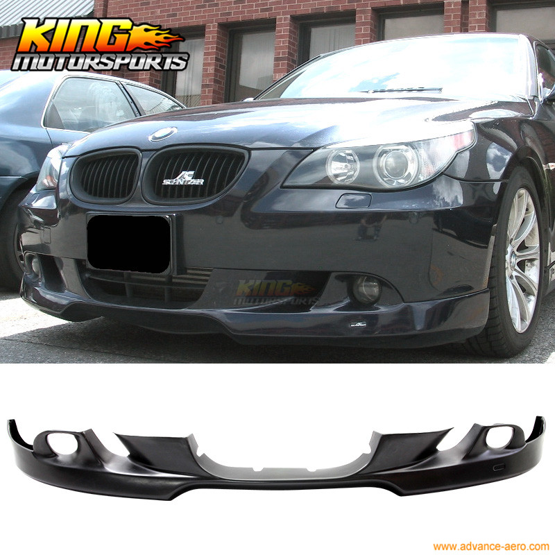 For 04 05 06 07 BMW E60 5 Series Front Bumper Lip AC Style Painted Jet Black #668