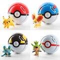 2016 NEW Lance Saltar Automaticamente Pokeball Com Pokemon Pikachu Figuras Anime Figuras de Ação Brinquedos Para Crianças Criativas