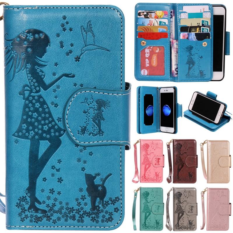 Luxo Bonito Dos Desenhos Animados 9 Fundas Cartões Espelho Gato Menina Leather flip Case Para iphone 5 5s se 6 6 s 6 plus 6 s mais 7 7 mais 7 mais cobrir