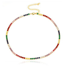 Sexy curto sparking arco-íris tênis corrente chocker colar com aaa + cz personalidade moda feminina colar bijoux femme