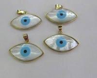 AA+ 6sets Gold Plated Palm Pearl Shell Evil Eye Station Connector 20 30mm Evil Hamsa Hand Turquoise Greek Eye Bead Gemstone Maki