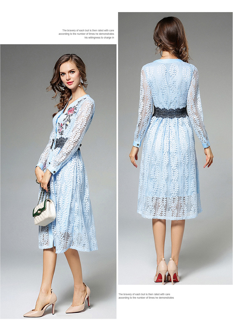 Sky Blue V-neck Floral Embroidered Lace Dress Autumn Dresses Women 2018 Vestido De Festa Hollow Out Christmas Dress K945180 10