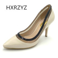 HXRZYZ женщин на высоком каблуке сексуальные свадебные туфли невесты черные насосы новая мода супер высокие каблуки женщины змеевик ноги пятк...