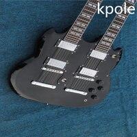 Wholesale New Hot Sale Kpole 6 +12 Strings Double Neck Custom Guitar SG 1275 Black Electric Guitar