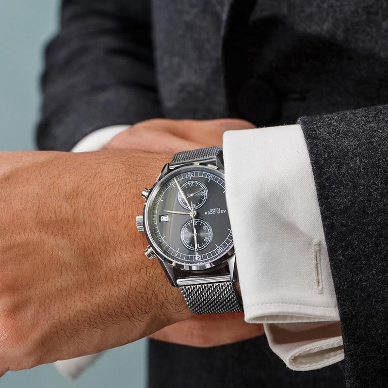 Nieuw Zilver Bezelleer Lederen Band Polshorloge Zwitserse - Herenhorloges - Foto 4