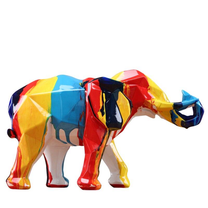 Éléphant mascotte couleurs colorées Figures géométriques Statue résine Animal Art & artisanat décoration de la maison pour salon L3308