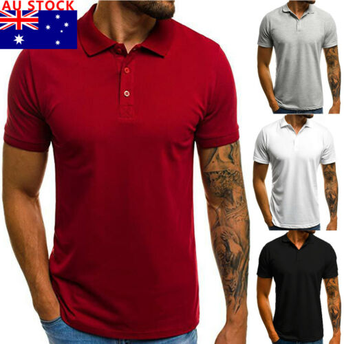 AU Men's Slim Short Sleeve V Neck Button Collar Casual  Shirt Basic Tops Tee