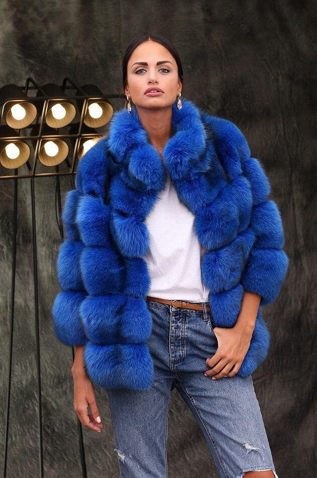 Épais 100 Qualité Supérieure Pour Vente Chaud Gros Montant Fourrure Outwear 2019 Promotion Collar Manteau Naturel Col D'hiver Stand De Renard Femmes 1ndqPnwA
