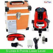 Kaitian Лазерный Уровень с 360 Поворотный Наклона Функции и Открытый ЕС Вертикальная и Горизонтальная 635nM Лазеры 5 Линий 6 Очков Лазерный Уровень