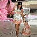 Vestidos De Noite curtos Com Rendas Mãe Filha Vestido Coral Applique Vestido de Noite Formal Com Mangas Robe De Soiree Vestidos
