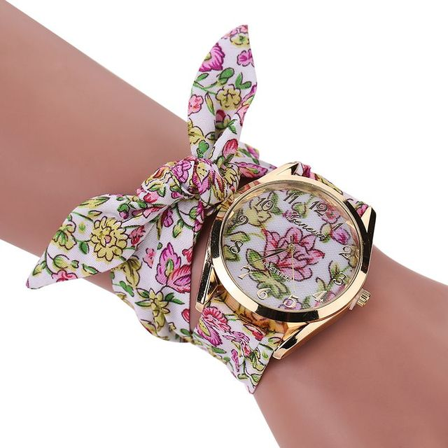 Women Wristwatch Flower Fabric Bow Quartz Watch For Women Summer Dress Sweet Gir