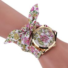 Women Wristwatch Flower Fabric Bow Quartz Watch For Women Summer Dress