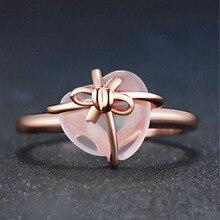 MOONROCY Прямая розовое золото цвет милый сладкий OL Росс кварц кристалл розовый опал кольца сердце ювелирные изделия оптом для женщин девочек