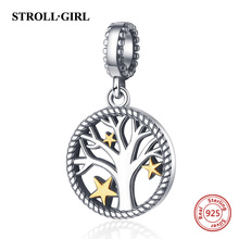 Strollgirl Authentic 925 sterling silver Tree of Life Charms Beads Fit Original Pandora Bracelet Women Fashion DIY Jewelry Gift fc jewelry fit original pandora charms bracelet 925 sterling silver family heart tree of life mom lockets beads necklace pendant