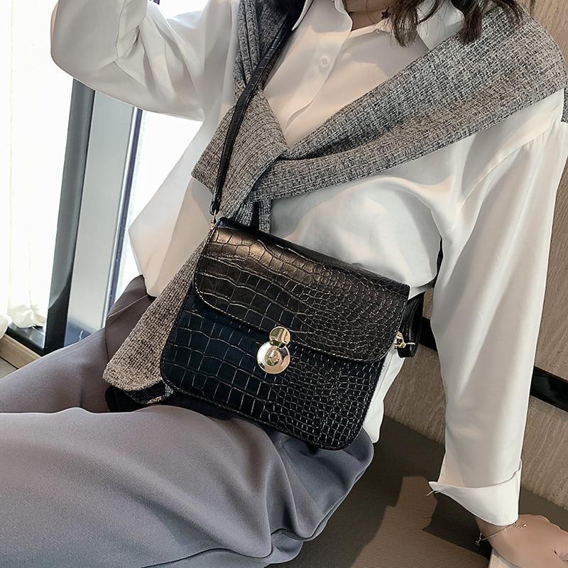 Crocodile Crossbody Bags For Women 2019 Small Handbag Mini PU Leather Hand Bag Ladies Designer Shoulder Bags Bolsos Mujer Black