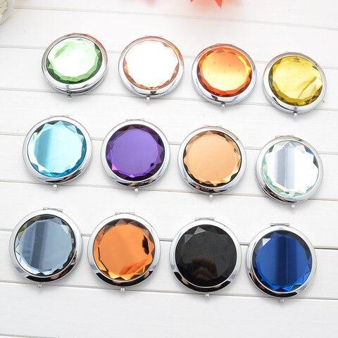 Mulher 70mm dobr vel espelho de maquiagem espelho compacto cristal metal bolso espelho presente do