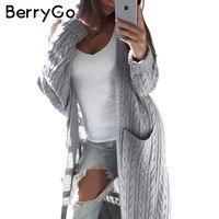 BerryGo Long Sleeve Knitted Cardigan Female Knitting Long Cardigan Sweater Women Jumper White Pocket Pull Knit