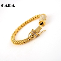 CARA New Arrival 5mm 316L Stainless Steel Twist Chain Men Bracelet Rhinestones Box With Tongue And
