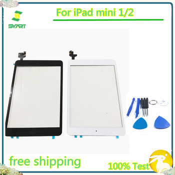 Black White Color 7.9 inch 5pcs/lot Touch Screen Glass Digitizer + IC Chip+Home Hutton Flex Cable Assembly For iPad mini 1/2