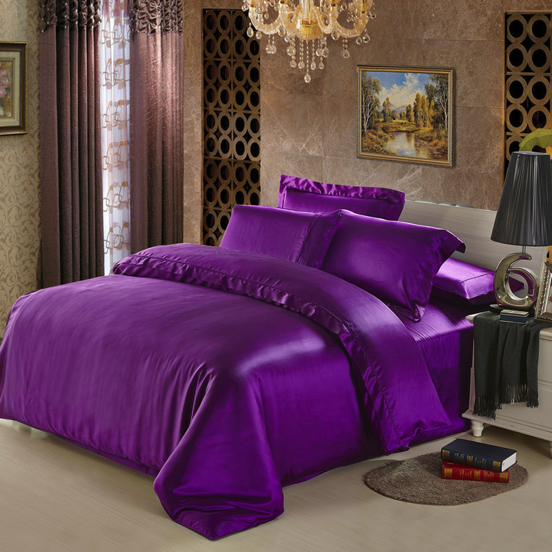 25 mm seamless heavy silk satin 4pcs bedding set 100 mulberry silk king queen ivory purple beige black dark red color customizein bedding sets from home