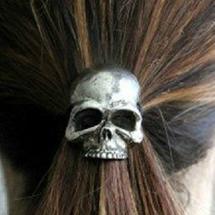 Fashion  headwear Retro punk three-dimensional skull rope elastic hair bands accessories mix color 0 H63