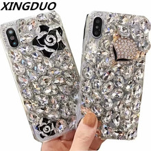 XINGDUO case for Samsung S7edge S8 S9 S10 Plus Note 8 9 luxury Glittering Diamonds flower Fox soft cover A6 A7 A8 J6 J8 2018