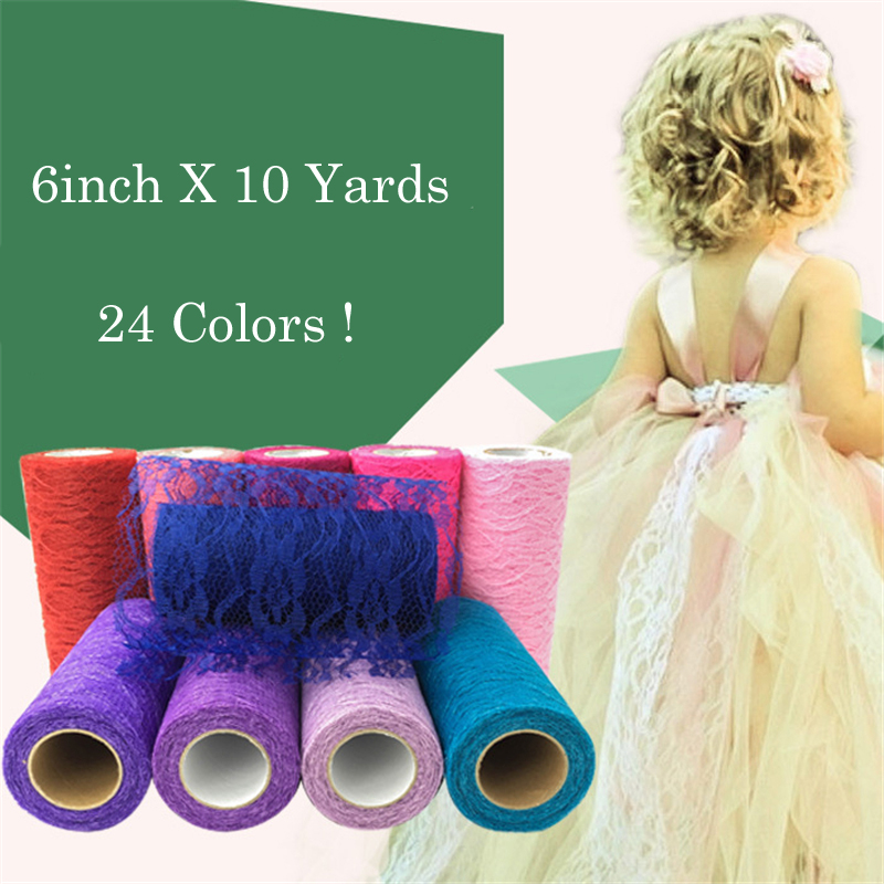 HAOCHU 6inch 10Yards Colorful Organza Lace Tulle Roll for Baby Shower Wedding Party Chair Sash Bow Table Runners 24 Colors