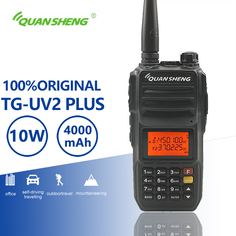 QuanSheng TG-UV2 Plus 10W Long Range Talkie Walkie 10 KM 4000mAh Vhf Uhf Dual Band Long Standby Two Way Radio Amador Transceiver