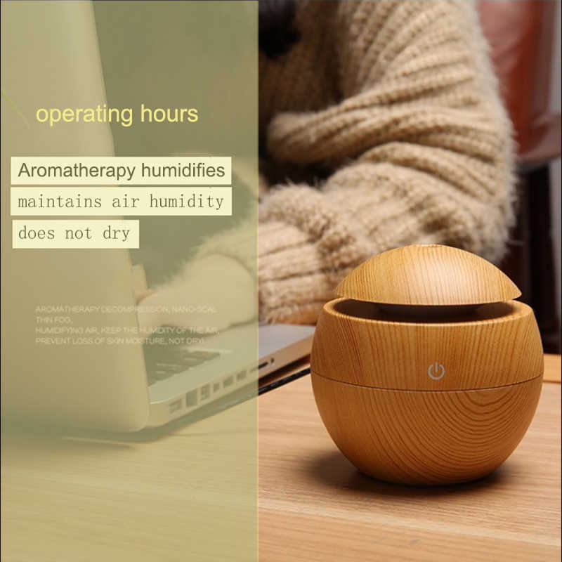 Diffuseur d'huile essentielle d'arome d'usb humidificateur ultrasonique d'air à la maison Mini diffuseur d'arome de fabricant de brume 130ML 7 LED couleur bureau