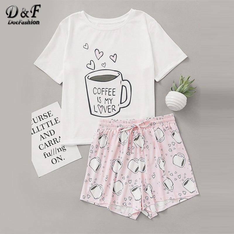 Dotfashion Cups Print Top With Drawstring Waist Shorts Pajama Set 2019 Round Neck Short Sleeve Women Cartoon Cute Pajama Set