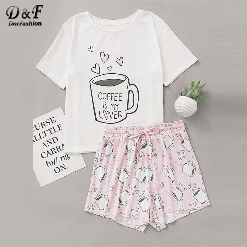 Dotfashion Cups Print Top With Drawstring Waist Shorts Pajama Set 2019 Round Neck Short Sleeve Women Cartoon Cute Pajama Set