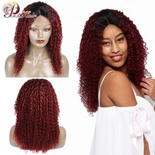Pinshair Burgundy Lace Front Human Hair Wigs for Women T1B/99J Ombre Lace Front Wig Peruvian Kinky Curly Closure Wigs Non-remy(China)