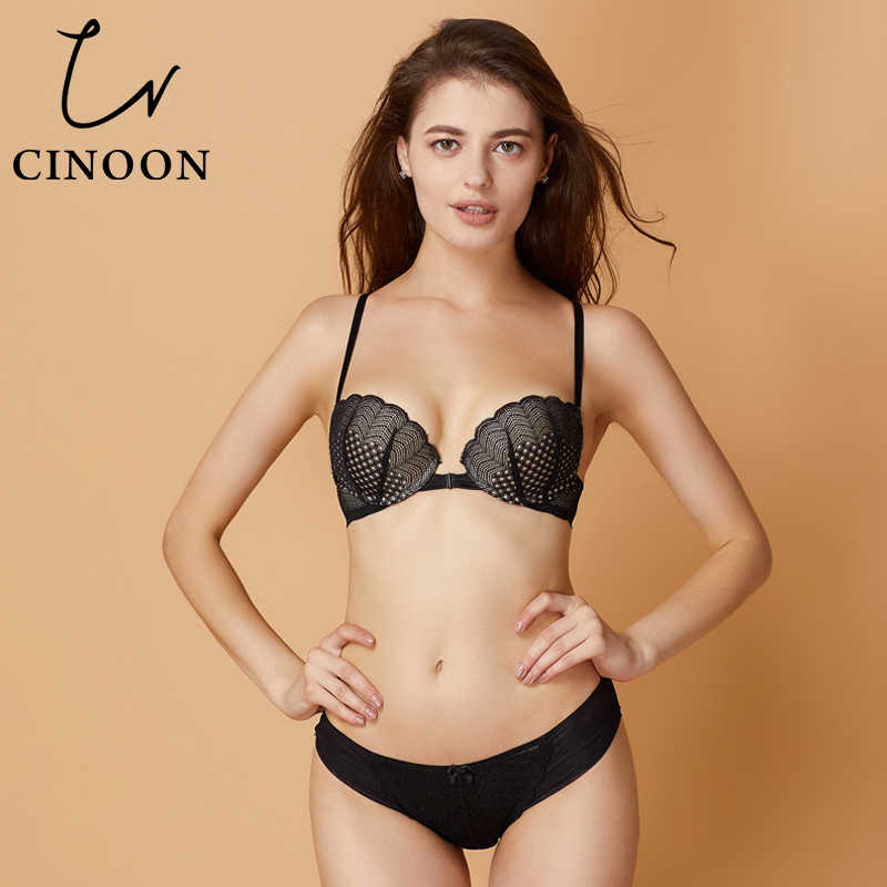 66e6275a1d CINOON Sexy Bra Sets Front Closure Lingerie Sexy Underwear Push Up Bra for  Women Floral Lace