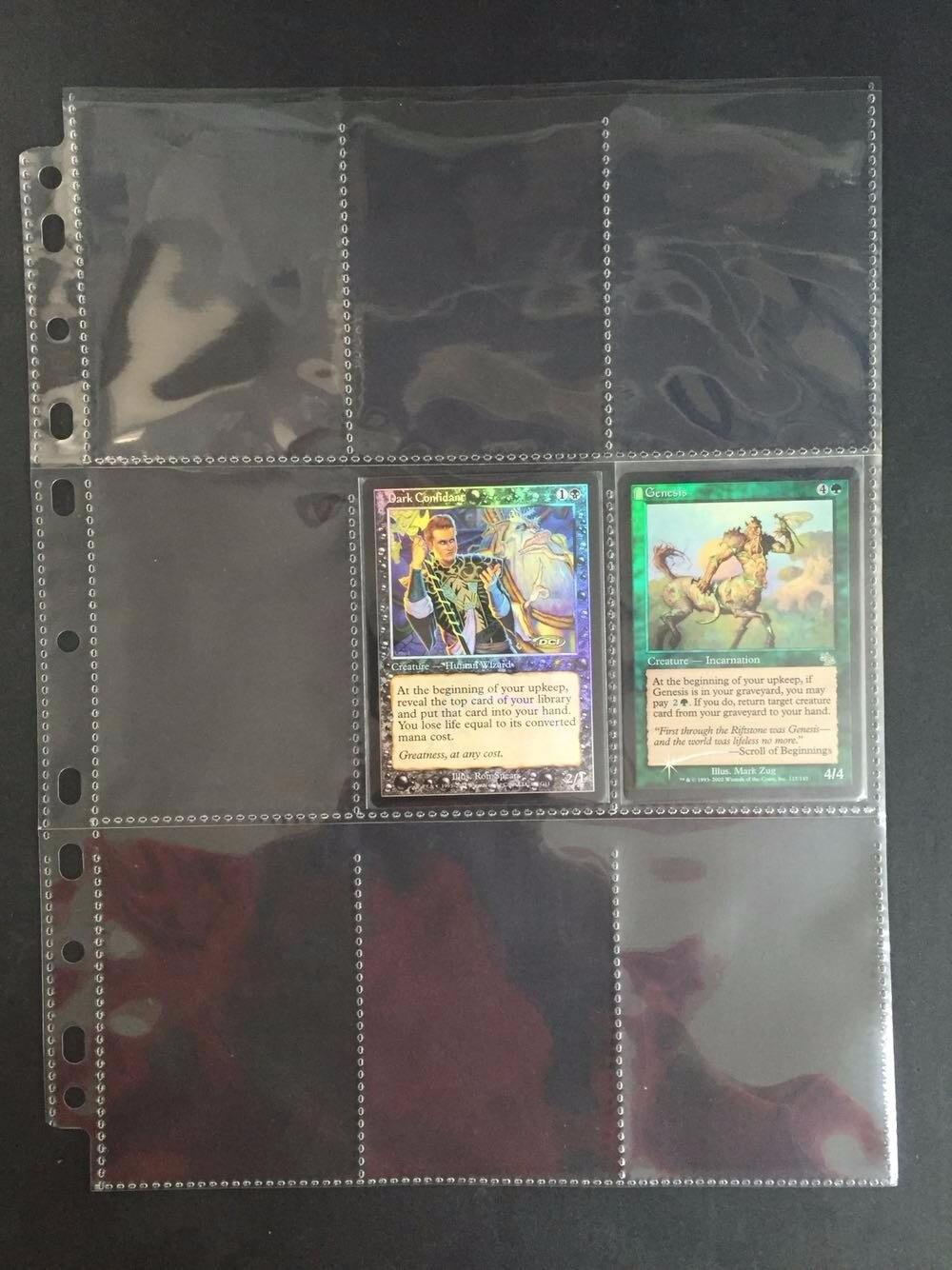 10-80 páginas 9 hojas juego de mesa tarjetas transparentes Página de comercio tarjeta protector la colección mágica recolección transparente Página de bolsillo
