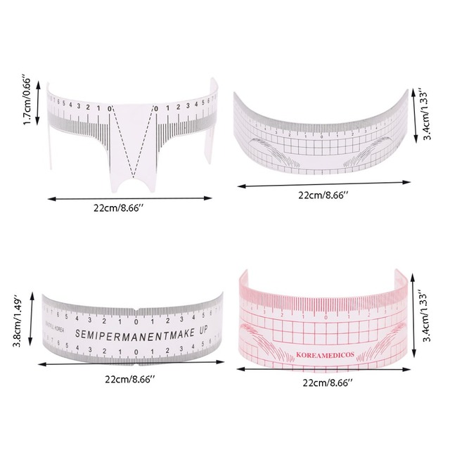 HOT New Microblading Reusable Makeup Brow Measure Eyebrow Guide Ruler Calliper Tools 3