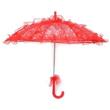 Lace Parasol Wedding Flower Bride Umbrella red