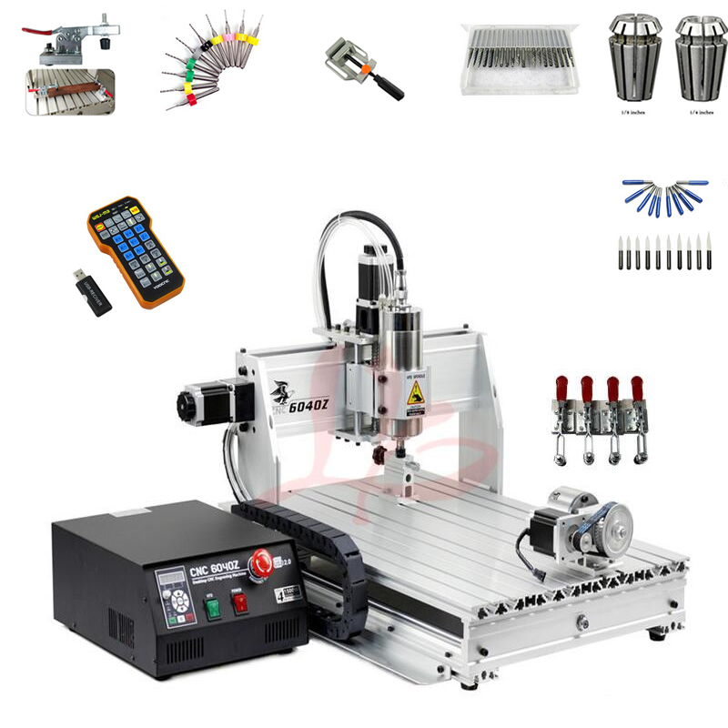 3d milling router 6040 2200W water cooled spindle metal engraving machine USB port DiY wood router with free cutter vise collet