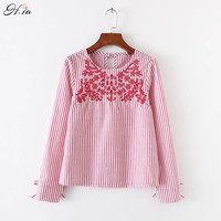 H SA 2017 Women Blouses Long Sleeve Bow Tie Oneck Flower Embroidery Blusa Shirts Casual Blue