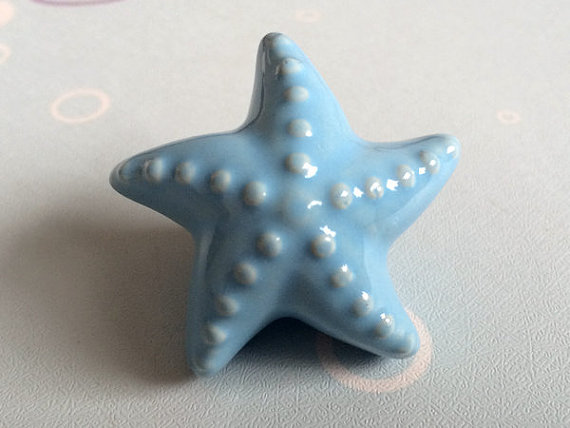 Beautiful Kids Knobs Dresser / Drawer Knobs Pulls Handles Blue White Ceramic Starfish  Sea Star Kids Cabinet Door Handle Nautical Decor In Cabinet Pulls From Home  ...