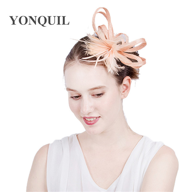 e4ad56dee8d Elegant Wedding Cocktail Hat For Women champagne feather Flower Design  Banquets NEW ARRIVAL Ladies Summer Occasion Event Races