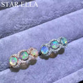 Good fire natural opal jewelry 925 Silver Natural Opal Ring ajustable With Pave Setting AAAA CZ
